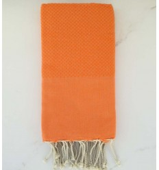 plain honeycomb light orange beach towel