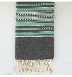arabesque gray striped green beach towel