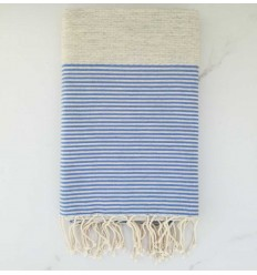 honeycomb light Grey striped blue beach towel