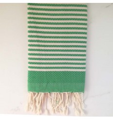 Beach Towel Honeycomb striped 1 cm green stripe