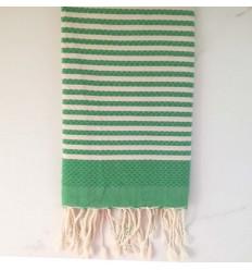 Beach Towel Honeycomb striped 1 cm green stripe