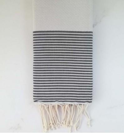 HONEYCOMB light grey striped grey fouta