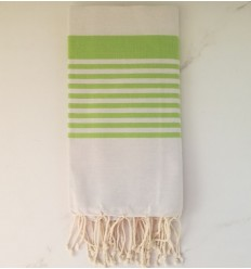 arthur greige striped green prairie beach towel
