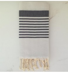 arthur Alabaster striped anthracite beach towel