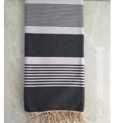 black gray with stripes throw