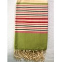 Flat ziwane with green stripes fouta