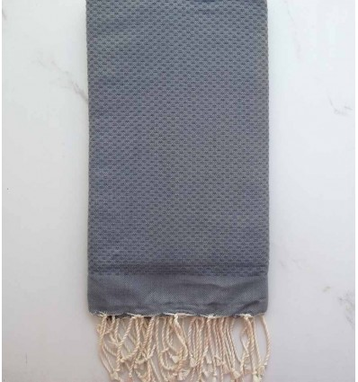 Plain honeycomb grey blue fouta