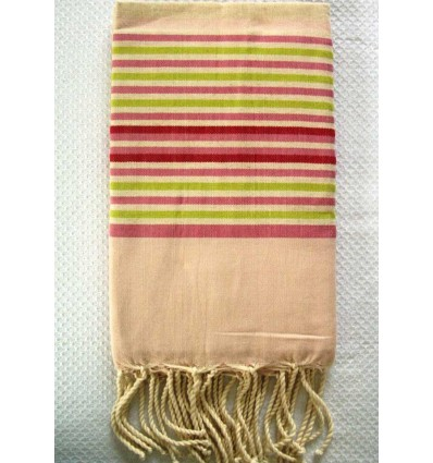 ziwane fouta with multicolored baby pink stripes