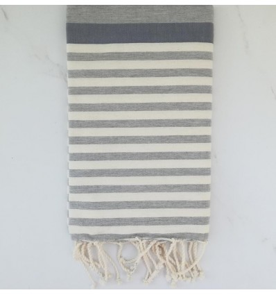 Blue horizon, grey and white beach towel
