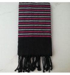 Flat black, pink and silver lurex fouta