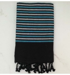Flat black, blue and silver lurex fouta