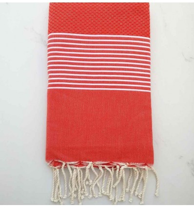 honeycomb red English beach towel