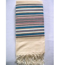 Arabesque striped blue coral red fouta