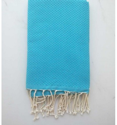 Plain honeycomb turquoise blue fouta