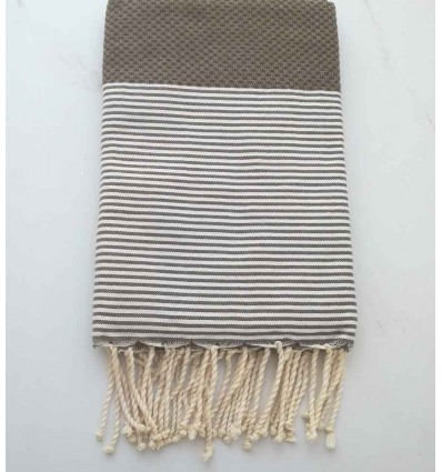 HONEYCOMB brown striped white fouta
