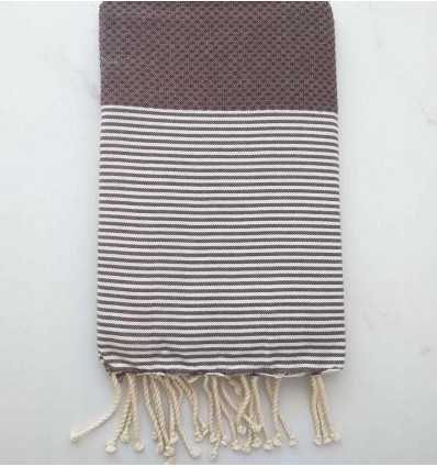 HONEYCOMB reddish brown striped white fouta