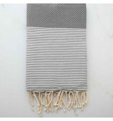 Honeycomb cement grey striped white fouta