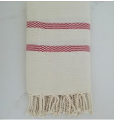 chevron white cream and red fouta