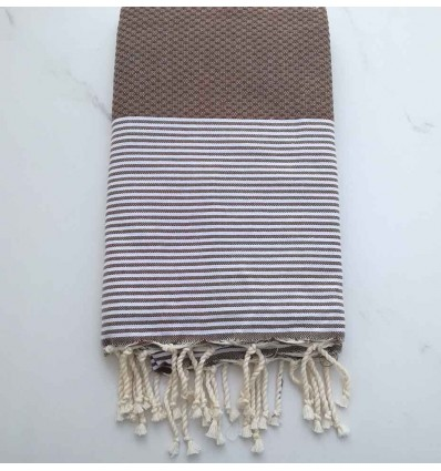 Honeycomb brown taupe striped white fouta