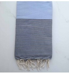 Honeycomb air force blue striped black fouta