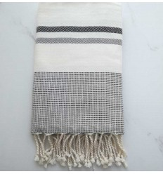 beach towel chevron white, black and medium gray