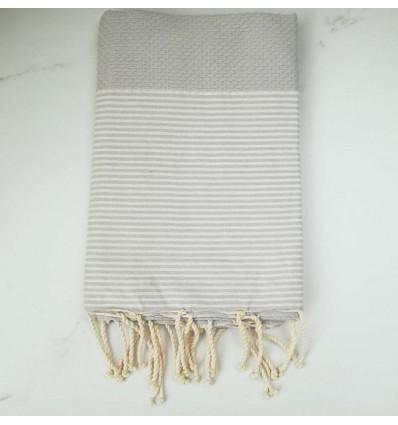 HONEYCOMB pearl grey striped white fouta