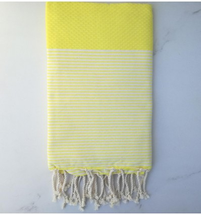 Honeycomb sunburst yellow striped white fouta