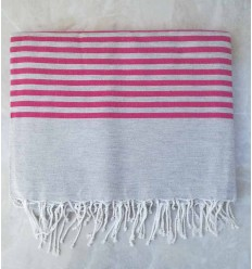 Grey striped pink throw
