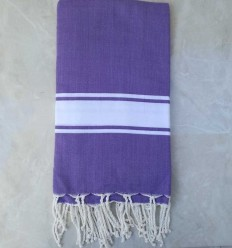 Mauve striped white throw