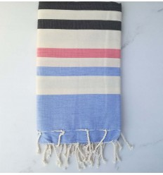 Beach Towel blue, anthracite gray, creamy white and pink