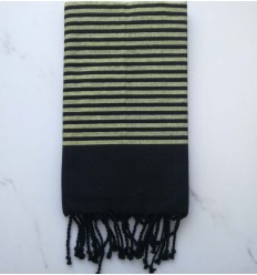 Flat black and light green lurex fouta