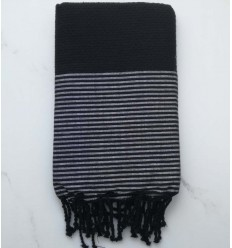 honeycomb black with silver lurex fouta