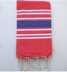 honeycomb red striped blue fouta