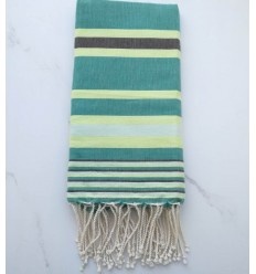 Dina green with stripes fouta