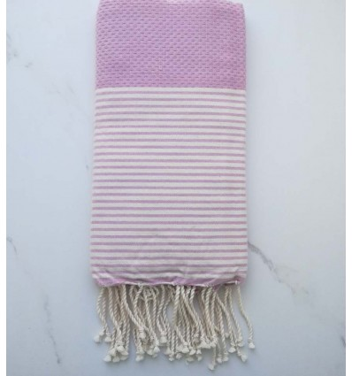 Honeycomb mauve striped white fouta