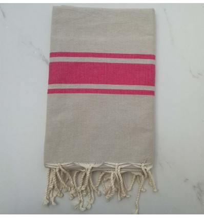 Flat light taupe striped pink fouta