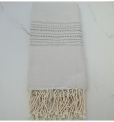 Thalasso beige with light green patterns fouta