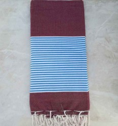 red bordeaux striped blue throw