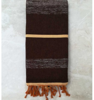 brown and ocher with lurex throw