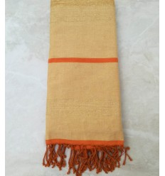 yellow and orange with lurex throw