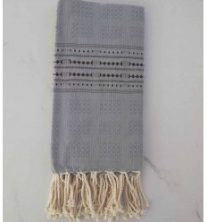 Fouta thalasso blue with aubergine pattern