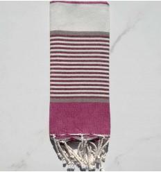 Purple, burgundy, taupe and white children's beach towel