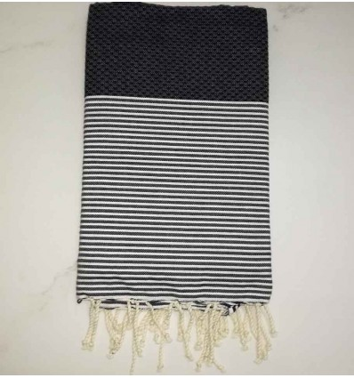 HONEYCOMB dark blue striped white fouta