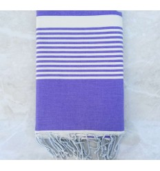 Lavender striped white throw