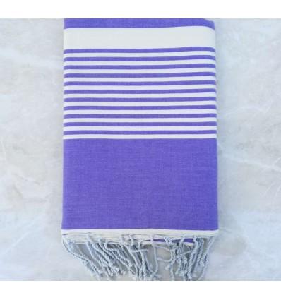 Lavender striped white throw