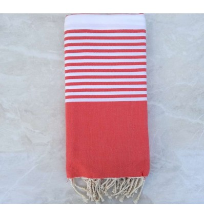 Red with stripes throw