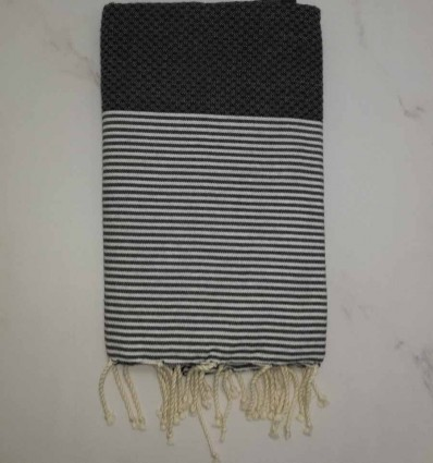 Honeycomb anthracite grey striped white fouta