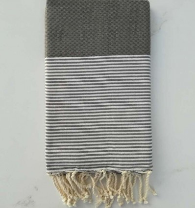 Honeycomb green grey striped white fouta