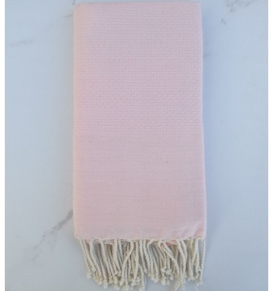 Plain honeycomb pale pink fouta