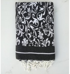 Beach Towel black and white gray flower